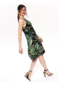 Czarna sukienka TOP SECRET na lato, elegancka, z krótkim rękawem