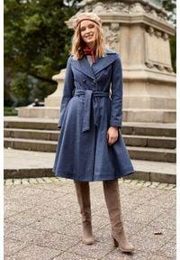 Marie Zélie - Płaszcz wełniany Achillea niebieski. Kolor: niebieski. Materiał: wełna. Wzór: ze splotem, motyw zwierzęcy. Sezon: zima