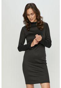 Czarna sukienka Brave Soul casualowa, z długim rękawem, dopasowana, na co dzień