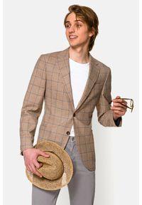 Lancerto - Marynarka Beżowa w Kratę Venezia. Typ kołnierza: golf. Kolor: beżowy. Materiał: jeans, wiskoza, len, wełna, tkanina, poliester. Wzór: ze splotem, kolorowy. Sezon: lato