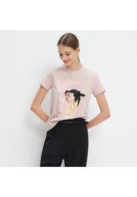Różowy t-shirt Mohito z nadrukiem