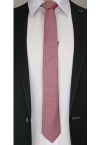 Elegancki Krawat Męski w Drobny Oryginalny Wzorek - 6 cm - Alties, Łososiowy. Kolor: różowy. Materiał: tkanina. Styl: elegancki