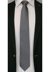 Szary Elegancki Męski Krawat -Angelo di Monti- 7 cm, Melanż, w Czerwone Kropki. Kolor: czerwony. Wzór: grochy. Styl: elegancki