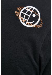 Hugo - T-shirt bawełniany. Okazja: na co dzień. Kolor: czarny. Materiał: bawełna. Wzór: aplikacja, nadruk. Styl: casual