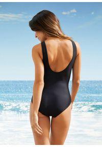 Kostium kąpielowy shape Level 1 bonprix czarno-turkusowy wzorzysty. Kolor: czarny. Materiał: materiał