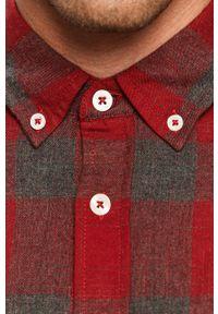 Czerwona koszula Mustang casualowa, na co dzień, button down, z długim rękawem