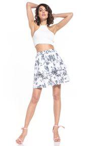 Tessita - Krótka Rozkloszowana Spódnica ze Wzorem - Szare Kwiaty. Kolor: szary. Materiał: bawełna. Długość: krótkie. Wzór: kwiaty