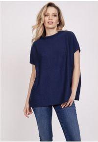 MKM - Luźny Sweter z Krótkim Rękawem - Granatowy. Kolor: niebieski. Materiał: bawełna, akryl. Długość rękawa: krótki rękaw. Długość: krótkie