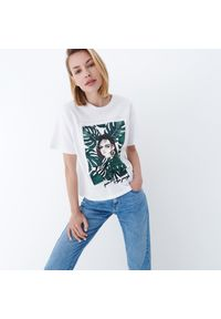 Mohito - Koszulka z nadrukiem - Biały. Kolor: biały. Wzór: nadruk