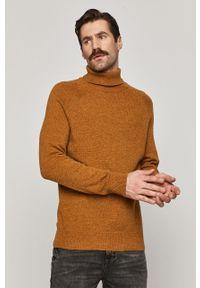 Żółty sweter medicine z długim rękawem, casualowy, długi, na co dzień