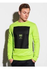 Ombre Clothing - Bluza męska bez kaptura z nadrukiem B1045 - zielona - XXL. Typ kołnierza: bez kaptura. Kolor: zielony. Materiał: bawełna. Wzór: nadruk. Styl: klasyczny