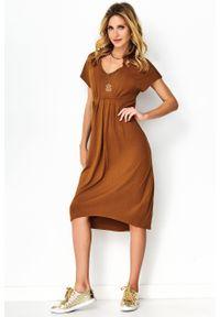 e-margeritka - Sukienka asymetryczna midi karmelowa - 42. Okazja: na co dzień. Materiał: elastan, wiskoza, materiał. Typ sukienki: asymetryczne. Styl: casual. Długość: midi