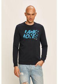 Niebieska bluza nierozpinana Jack & Jones casualowa, z nadrukiem, na co dzień