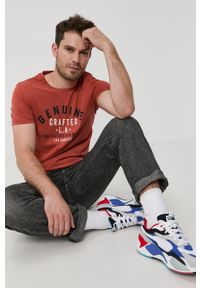 PRODUKT by Jack & Jones - Produkt by Jack & Jones - T-shirt bawełniany. Okazja: na co dzień. Kolor: pomarańczowy. Materiał: bawełna. Wzór: nadruk. Styl: casual