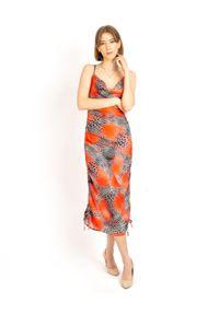 COSEL - Sukienka z regulacją długości Martynika. Typ kołnierza: dekolt na plecach. Kolor: pomarańczowy. Materiał: jedwab, materiał. Długość rękawa: na ramiączkach. Typ sukienki: proste. Długość: mini