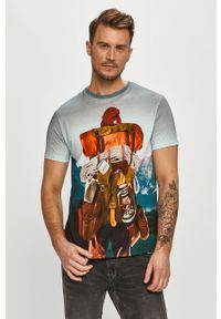 Wielokolorowy t-shirt Desigual z nadrukiem, na co dzień, casualowy