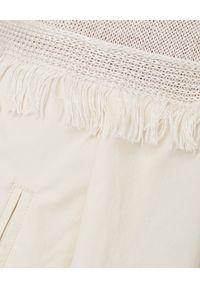 LE TRICOT PERUGIA - Beżowa sukienka z lnem. Kolor: beżowy. Materiał: len. Wzór: aplikacja. Styl: elegancki. Długość: midi