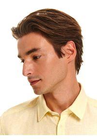 TOP SECRET - Koszula z lnem o kroju slim. Kolor: żółty. Materiał: len. Długość rękawa: krótki rękaw. Długość: krótkie. Sezon: lato, wiosna #5