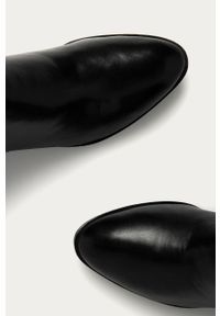 Czarne botki Aldo z cholewką, bez obcasa, na zamek