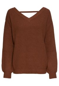 Brązowy sweter bonprix z dekoltem w serek