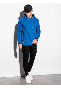 Ombre Clothing - Bluza męska z kapturem B1080 - niebieska - XXL. Typ kołnierza: kaptur. Kolor: niebieski. Materiał: bawełna, poliester