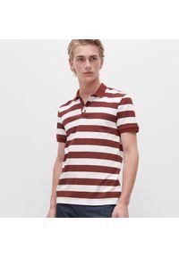 Czerwona koszulka polo Reserved polo, w paski