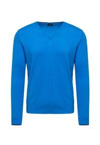 Niebieski sweter Chervo klasyczny, z kontrastowym kołnierzykiem