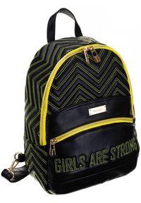 FEMESTAGE Eva Minge - Plecak damski młodzieżowy czarny FemeStage BAG64726-K99X. Kolor: czarny. Materiał: skóra ekologiczna. Wzór: geometria. Styl: młodzieżowy