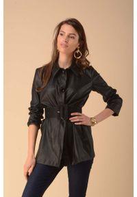 Nommo - Czarna Gładka Koszula z Tkaniny Imitującej Skórę. Kolor: czarny. Materiał: tkanina, skóra. Wzór: gładki
