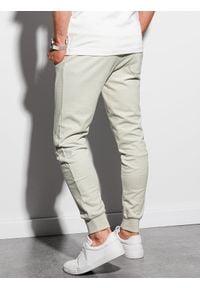 Ombre Clothing - Spodnie męskie dresowe joggery P948 - jasnozielone - XXL. Kolor: zielony. Materiał: dresówka
