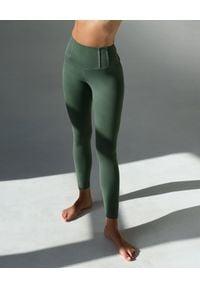 CONTROLOGY - Zielone leginsy Origami. Stan: podwyższony. Kolor: zielony. Materiał: tkanina. Długość: długie. Wzór: aplikacja