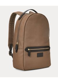 Ralph Lauren - RALPH LAUREN - Brązowy plecak z płótna i skóry. Kolor: brązowy. Materiał: skóra. Wzór: aplikacja, paski