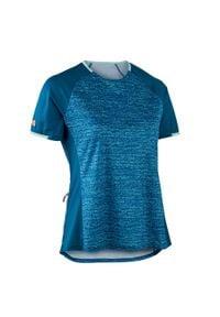 ROCKRIDER - Koszulka krótki rękaw na rower MTB ST 100 damska. Kolor: turkusowy, niebieski, wielokolorowy. Materiał: poliester, materiał. Długość rękawa: krótki rękaw. Długość: krótkie. Sport: kolarstwo