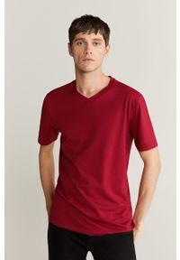 Czerwony t-shirt Mango Man casualowy, na co dzień