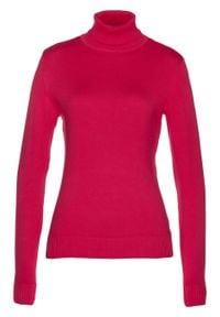 Czerwony sweter bonprix długi, z golfem, z długim rękawem