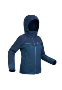 WEDZE - Kurtka narciarska 580 damska. Kolor: niebieski. Materiał: skóra, materiał. Sport: narciarstwo