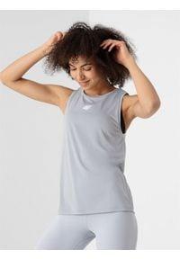 4f - Koszulka bez rękawów do jogi. Kolor: szary. Materiał: materiał, dzianina, włókno. Długość rękawa: bez rękawów. Sport: joga i pilates