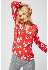 MOODO - Luźna koszula z motywem kwiatowym. Typ kołnierza: bez kołnierzyka. Materiał: poliester. Długość rękawa: długi rękaw. Długość: długie. Wzór: kwiaty