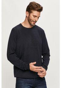 Niebieski sweter Wrangler z okrągłym kołnierzem, z aplikacjami, długi, z długim rękawem