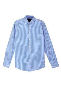 Niebieska koszula TOP SECRET elegancka, z długim rękawem, długa