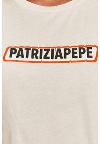 Biała bluzka Patrizia Pepe z okrągłym kołnierzem, casualowa
