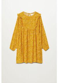 Żółta sukienka Mango Kids w grochy, z długim rękawem, oversize