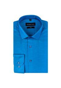 Niebieska koszula Giacomo Conti z klasycznym kołnierzykiem, z długim rękawem, w kolorowe wzory