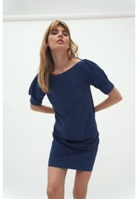 Nife - Krótka Sukienka z Bufkami - Kobaltowa. Kolor: niebieski. Materiał: poliester, wiskoza, elastan. Długość: mini