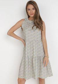 Born2be - Miętowa Sukienka Adrilise. Kolor: miętowy. Materiał: bawełna. Długość rękawa: bez rękawów. Wzór: aplikacja. Styl: wakacyjny. Długość: mini