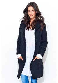 Czarny sweter oversize Makadamia długi, z kapturem