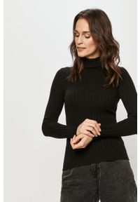Czarny sweter Answear Lab z długim rękawem, wakacyjny, długi, z golfem