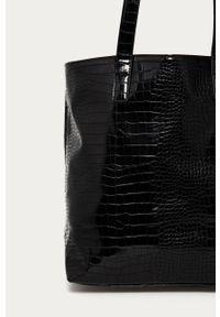 Czarna shopperka only gładkie, duża, na ramię, skórzana