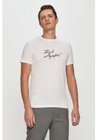 Biały t-shirt Karl Lagerfeld klasyczny, na co dzień, z nadrukiem