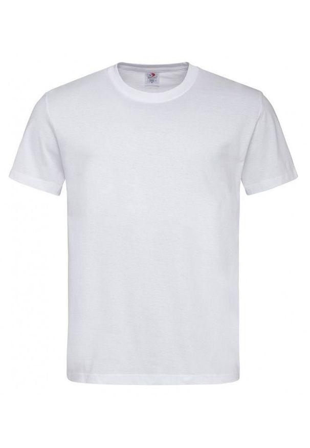 Biały t-shirt Stedman z krótkim rękawem, krótki, casualowy, na co dzień